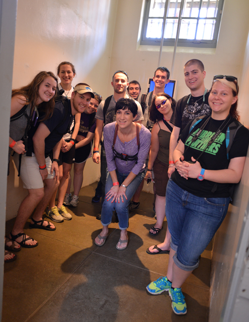 All of us in a cell to show the size. Just ignore my awkward squatting maneuver.