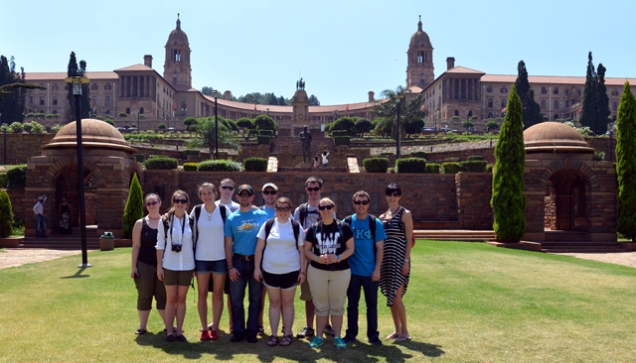 All the gang posing in front of the Union Buildings