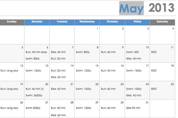 work out schedule