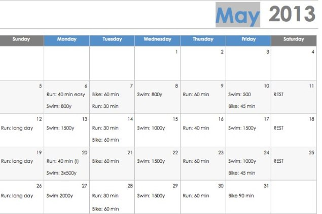 May workout schedule